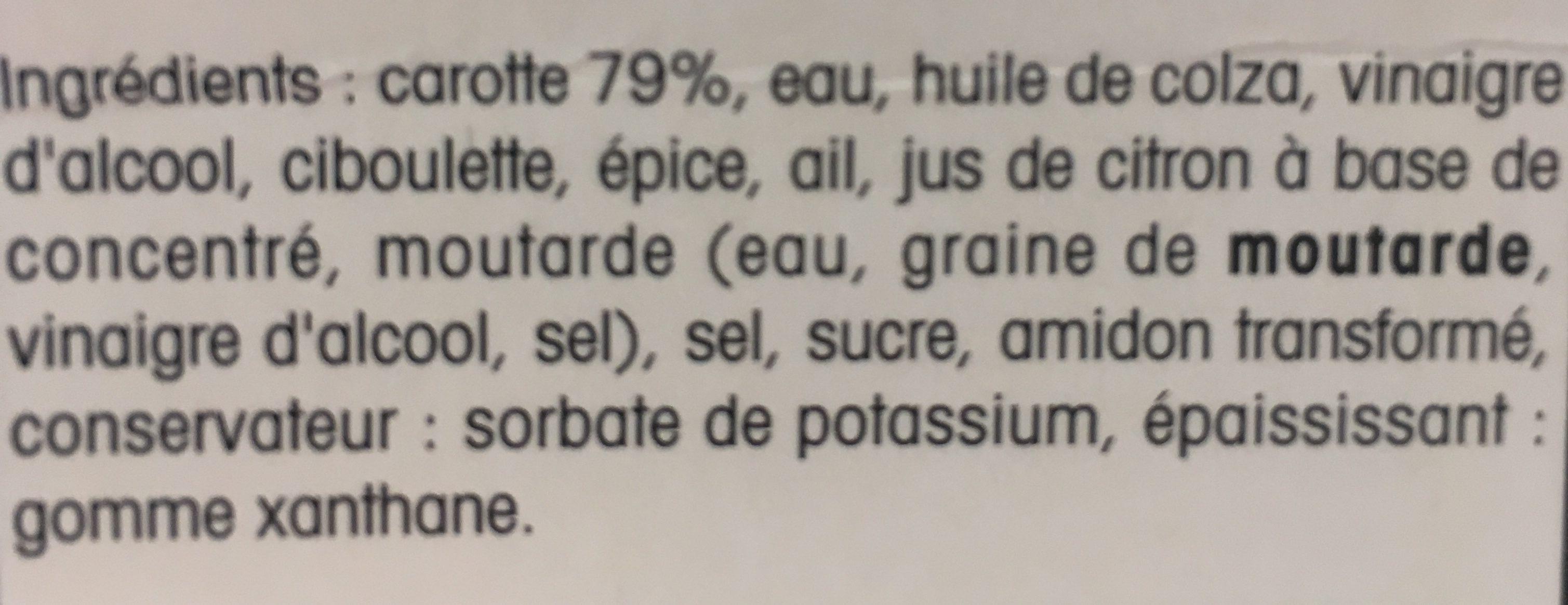Carottes Râpées Assaisonnées - Ingredients - fr