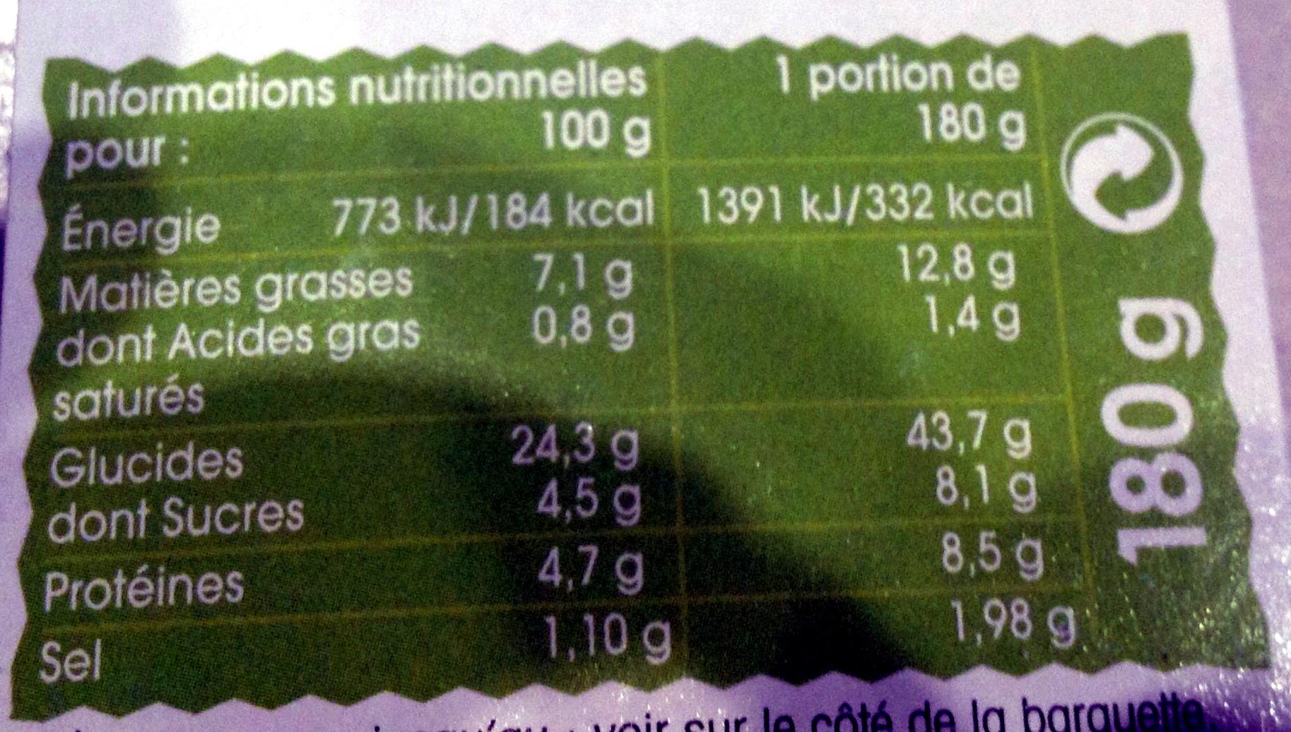 Taboulé oriental à l'huile d'olive vierge extra - Informations nutritionnelles - fr