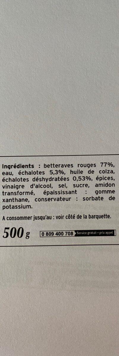 Betteraves rouges assaisonnées - Ingrediënten - fr