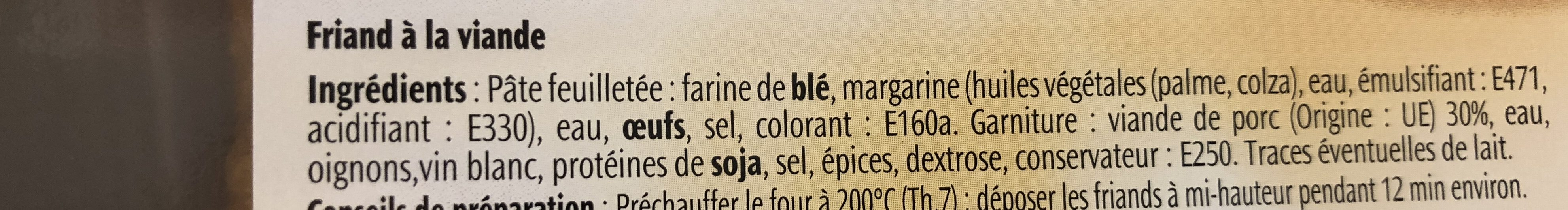 2 friands à la viande - Ingrédients - fr