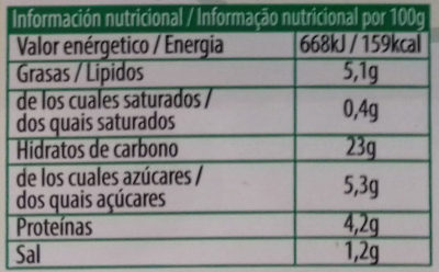 Tabulé oriental - Informació nutricional