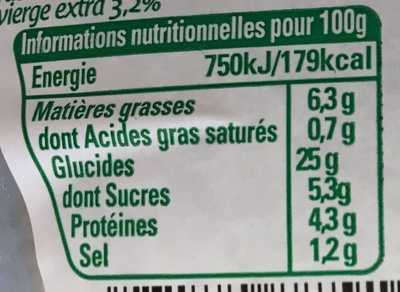 Mon Taboulé Oriental à l'Huile d'Olive - Nutrition facts