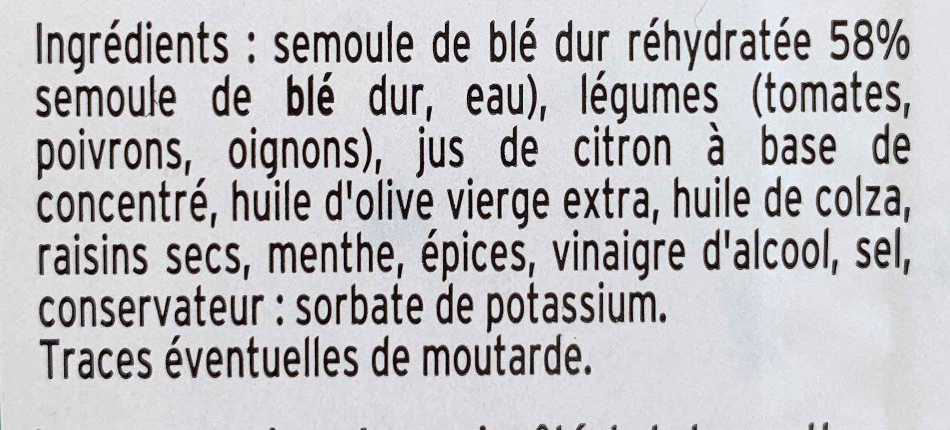 Taboulé oriental à l'huile d'olive - Ingrédients