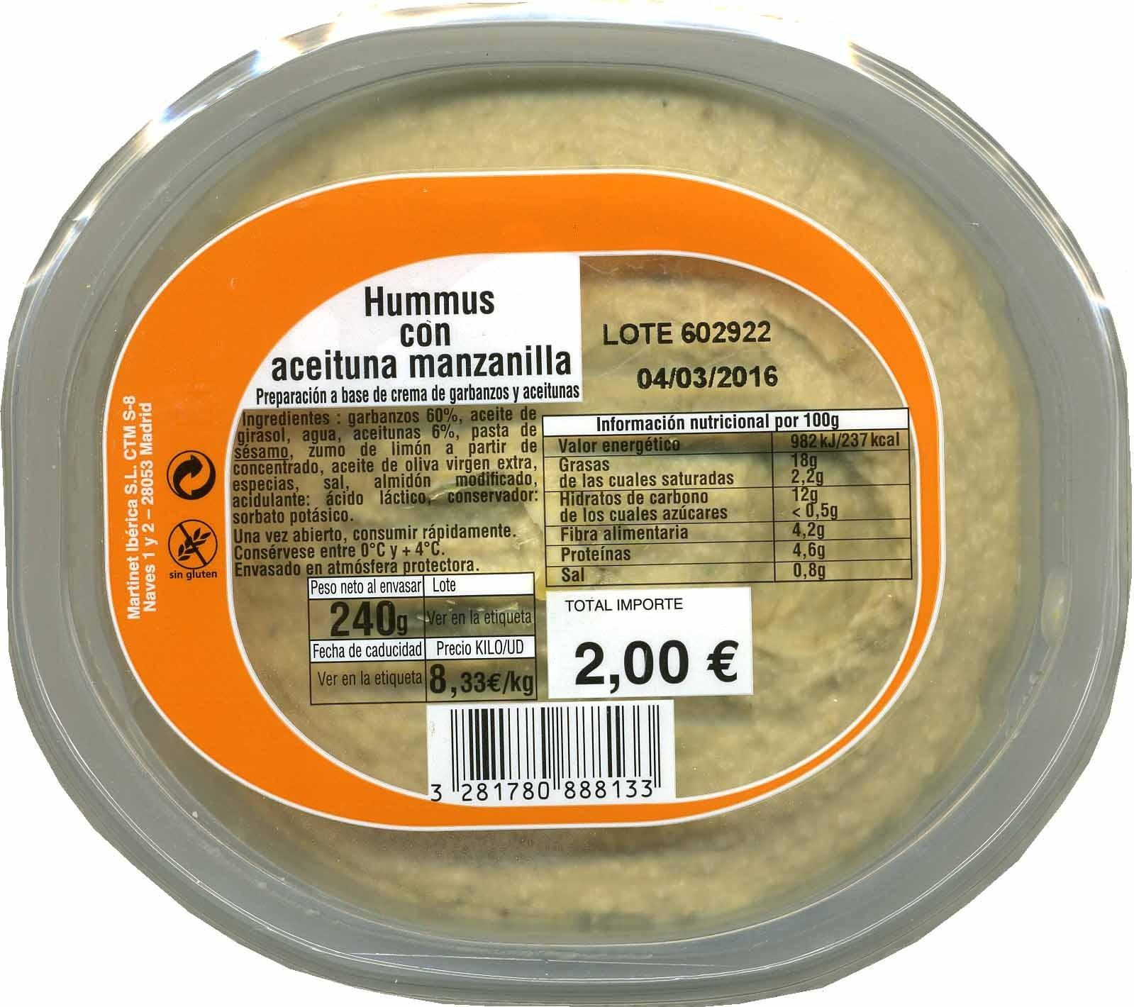 Hummus con aceituna manzanilla - Producte