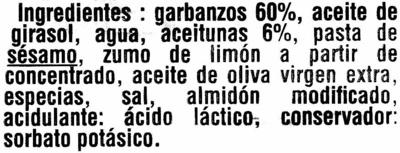 Hummus con aceituna manzanilla - Ingredients