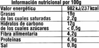 Hummus con aceituna manzanilla - Informació nutricional
