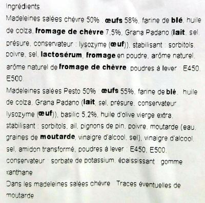 Mes Madeleines au Fromage de Chèvre et au Pesto - Ingrédients
