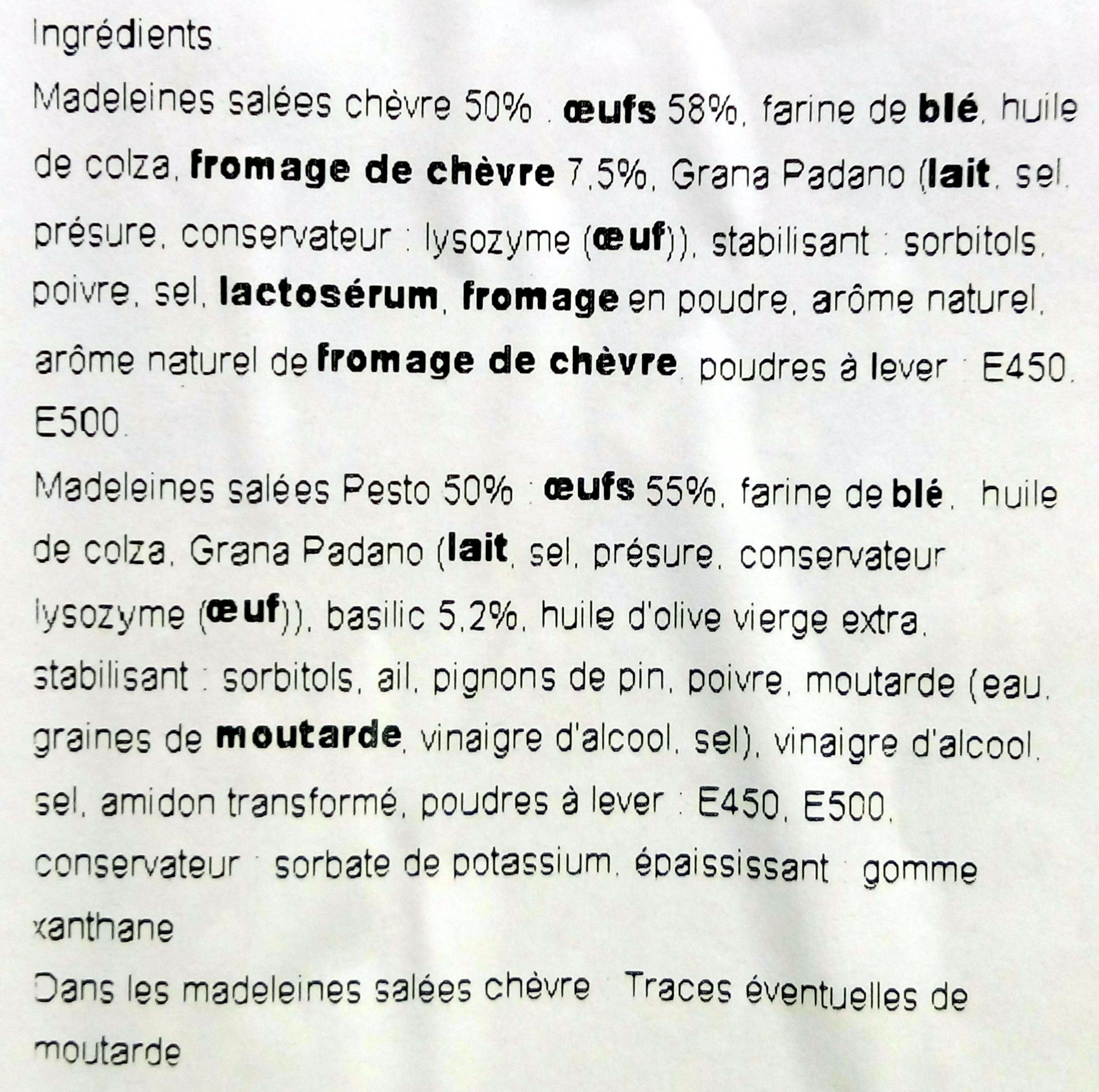 Mes Madeleines au Fromage de Chèvre et au Pesto - Ingrédients - fr