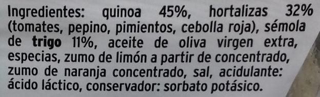 Ensalada de quinua con hortalizas - Ingredientes