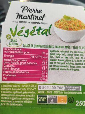Salade de quinoa aux légumes - Valori nutrizionali - fr
