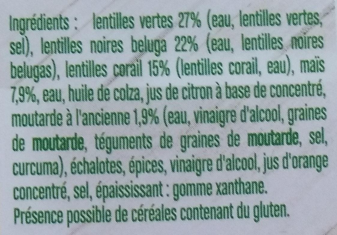 Trio de lentilles à la moutarde à l'ancienne - Végétal - Ingrediënten