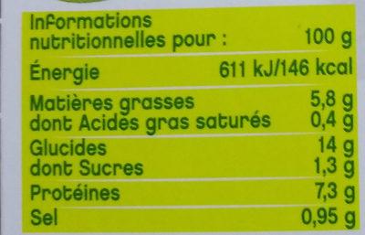 Trio de lentilles à la moutarde à l'ancienne - Végétal - Voedingswaarden