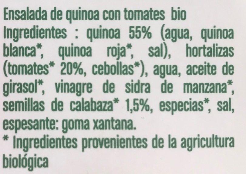 Ensalada de quinoa con tomates y semillas de calabaza Bio - Ingredients