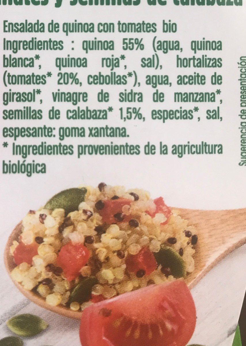 Ensalada de quinoa con tomates y semillas de calabaza Bio - Ingrédients
