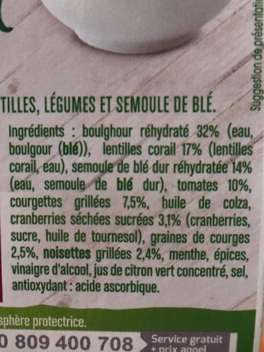 TEST - BOULGHOUR CRANBERRIES NOISETTES - Ingredients