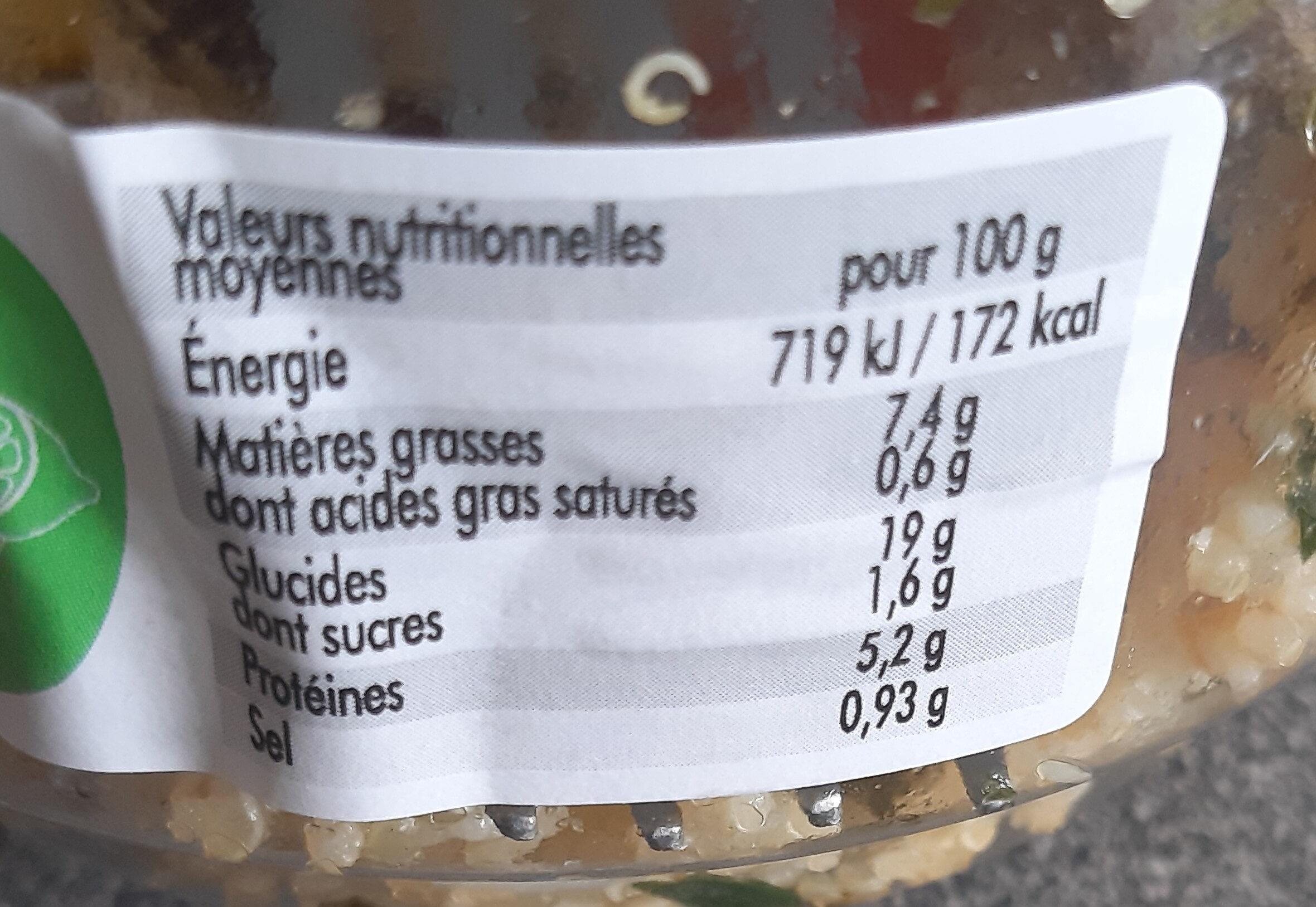 Salade de quinoa aux trois légumineuses - Nutrition facts - fr
