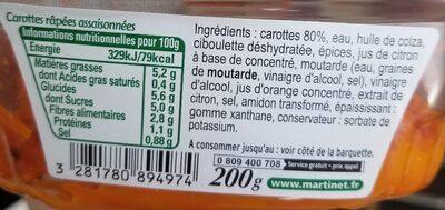 Carottes râpées - Informations nutritionnelles - fr