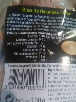 Biscuit amandes citron - Voedingswaarden - fr
