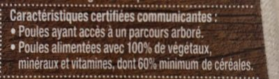 6 oeufs plein air Label Rouge fermier - Ingredients