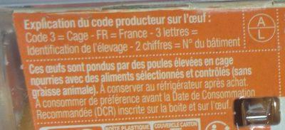 4 Gros oeufs Extra-frais - Ingrediënten - fr