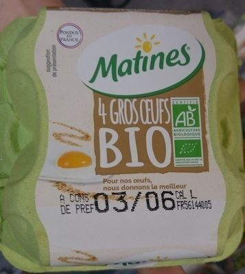 4 gros oeufs bio - Product - fr