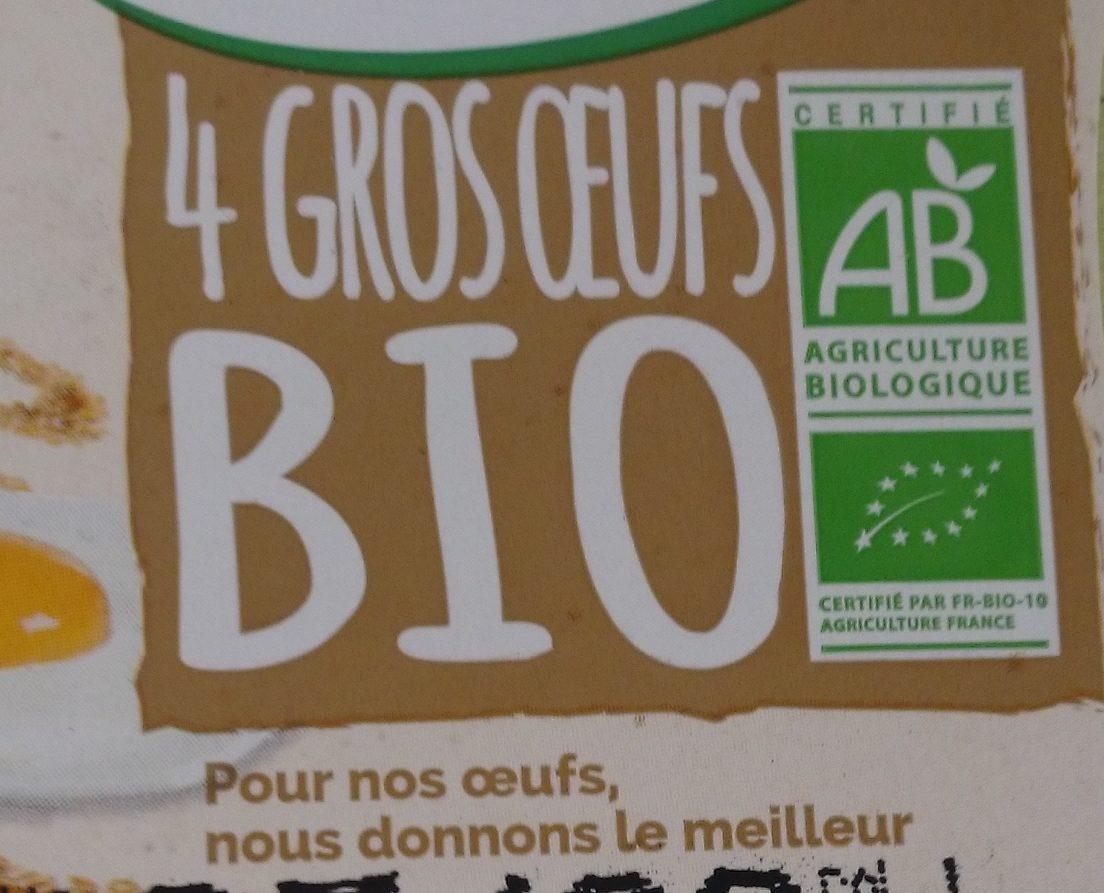 4 gros oeufs bio - Ingredients - fr