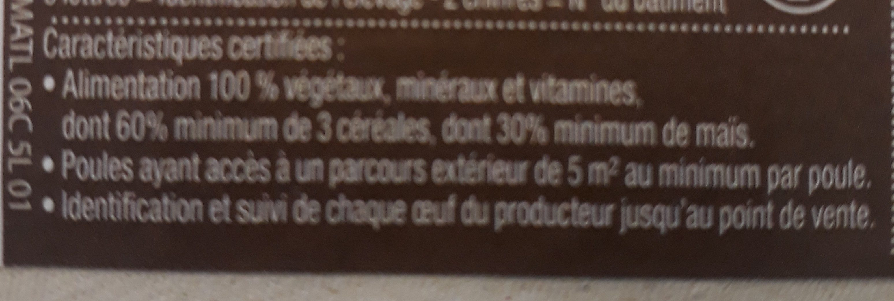 6 oeufs plein air Label Rouge gros - Ingrediënten - fr