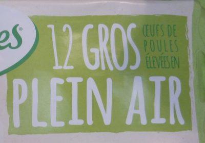 12 Gros Œufs de Poules Élevées en Plein Air - Ingredientes