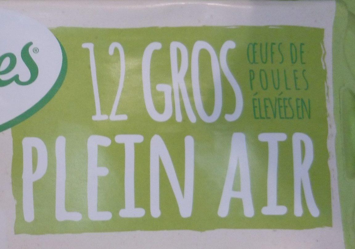 12 Gros Œufs de Poules Élevées en Plein Air - Ingredienti - fr
