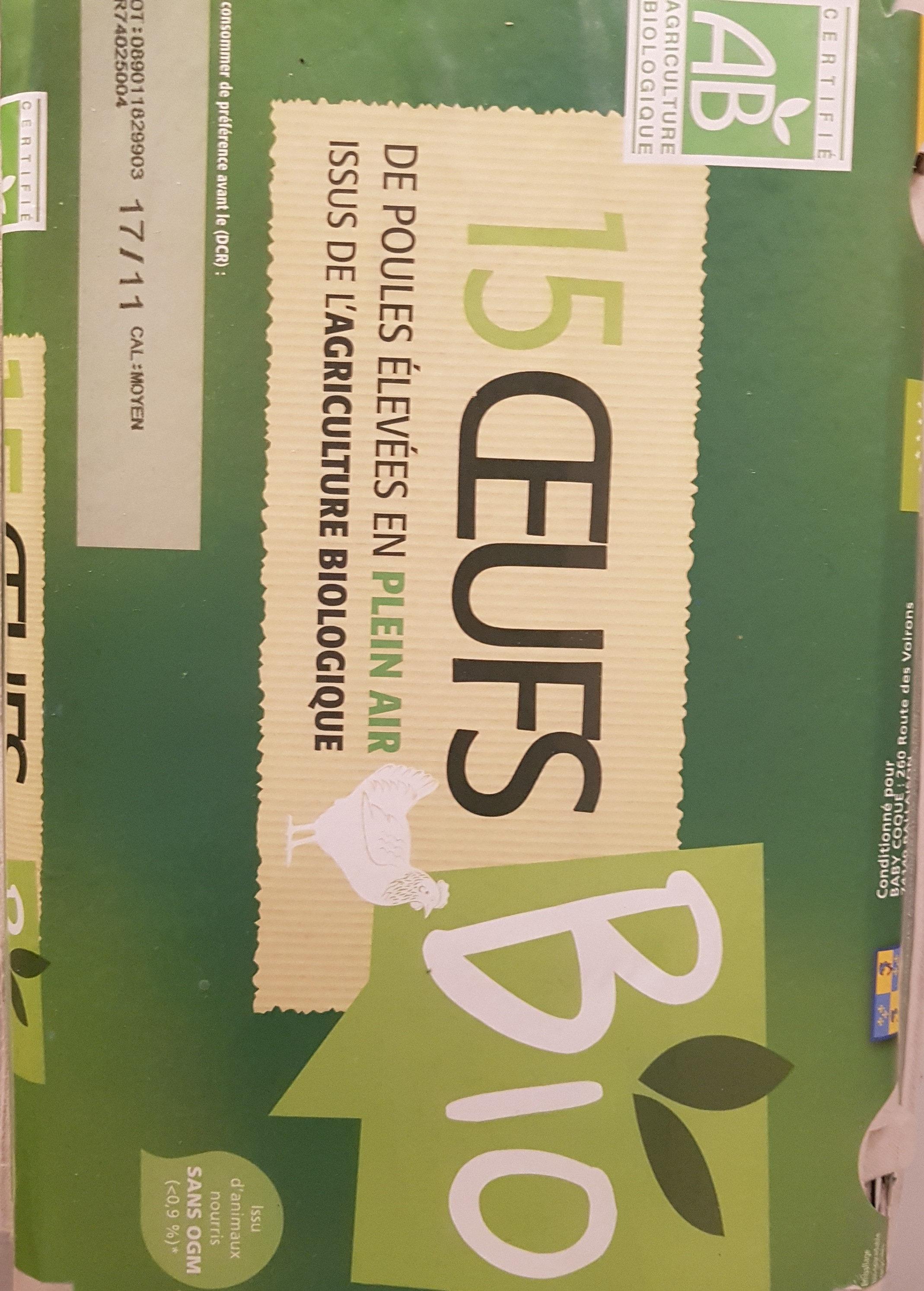 15 Oeufs Bio élevé En Plein Air Certifié Agriculture Biologique - Produit - fr