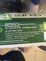 15 Oeufs Bio élevé En Plein Air Certifié Agriculture Biologique - Ingrédients - fr