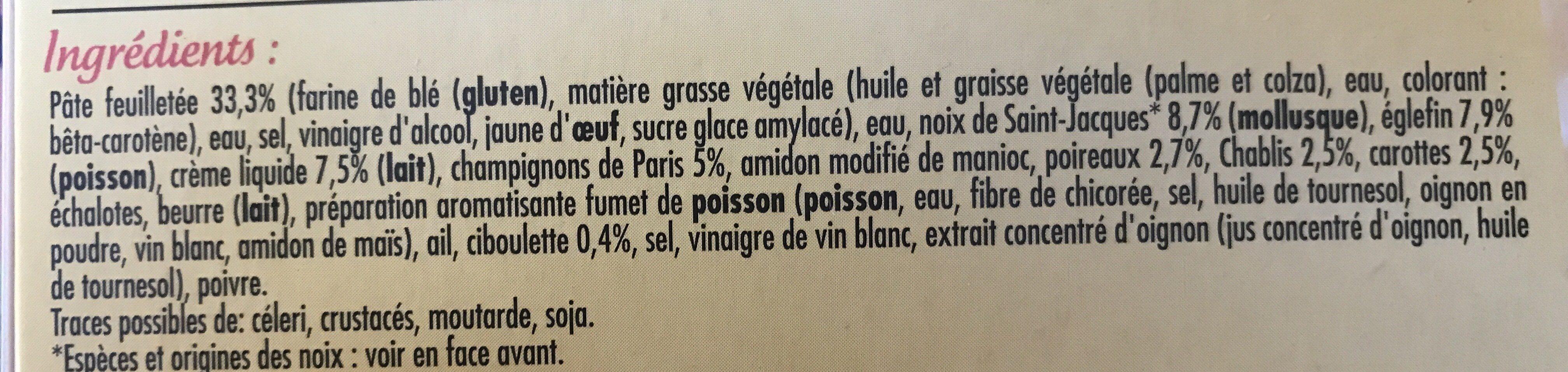 2 Feuilletés Saint-Jacques et Eglefin, Sauce au Chablis - Ingrédients