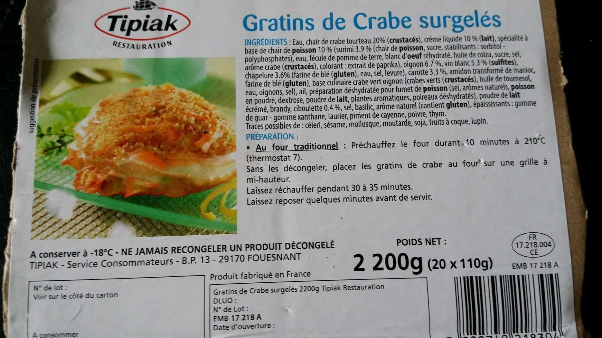 Gratins de crabe surgelés - Product - fr