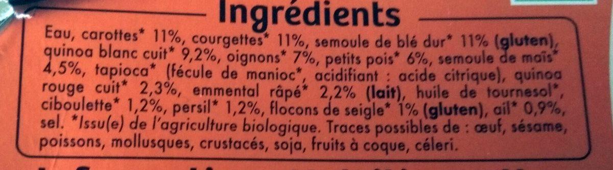 2 grandes galettes quinoa et petits legumes - Ingredients - fr