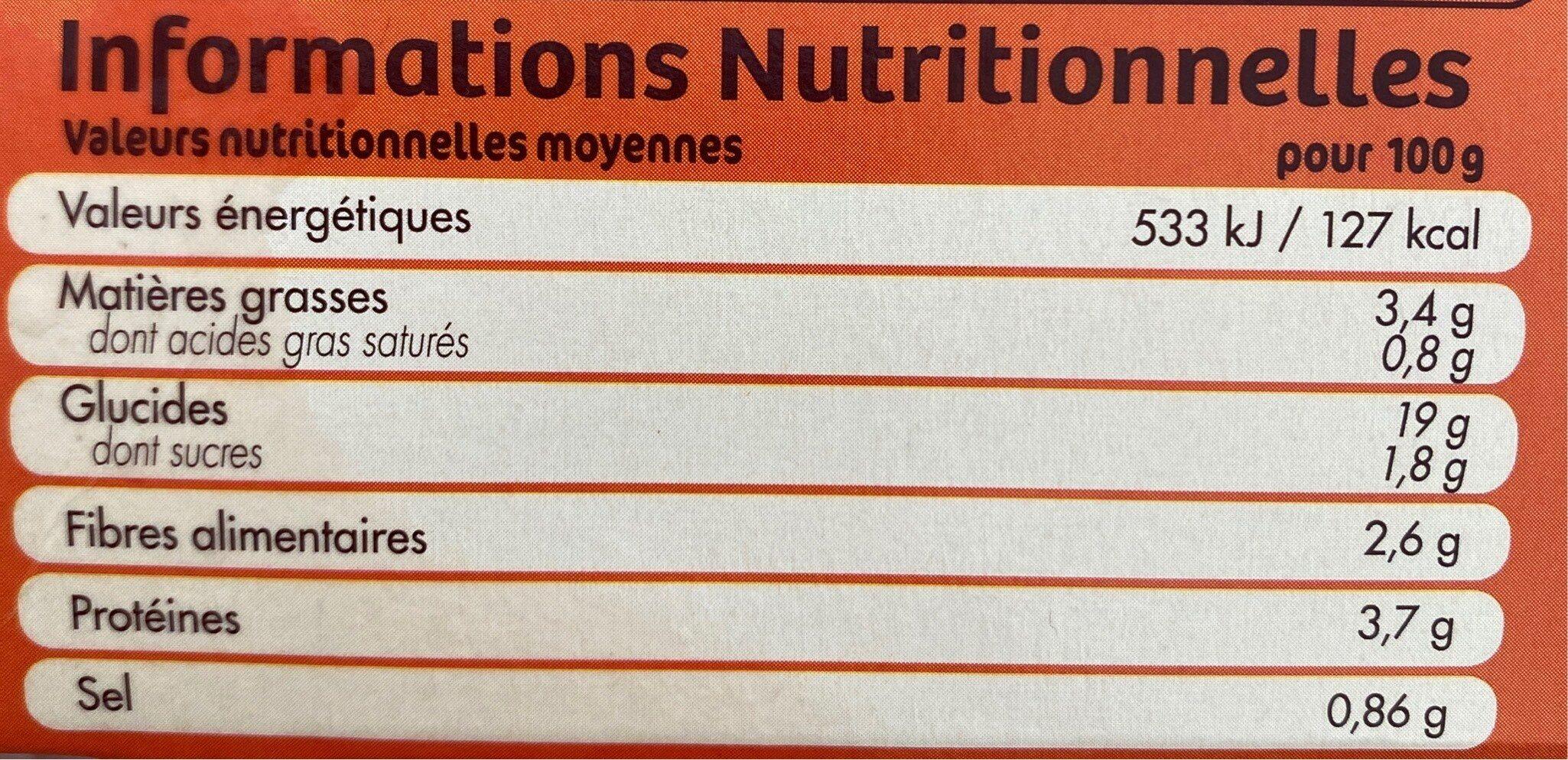 2 grandes galettes quinoa et petits legumes - Informations nutritionnelles - fr