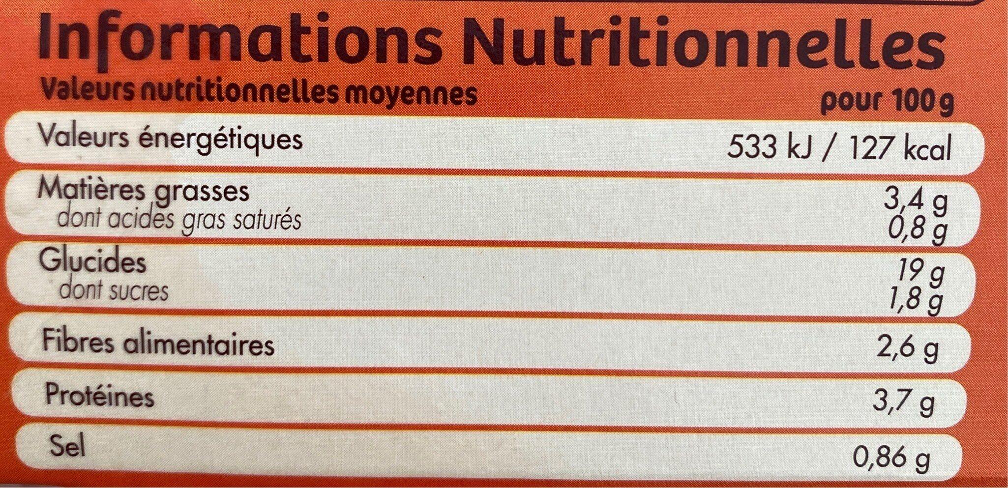 2 grandes galettes quinoa et petits legumes - Nutrition facts - fr