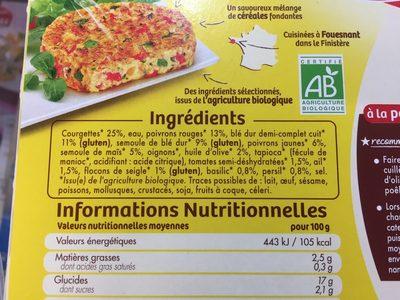 Tipiak 2 grandes galettes legime du soleil cereales - Ingrédients - fr