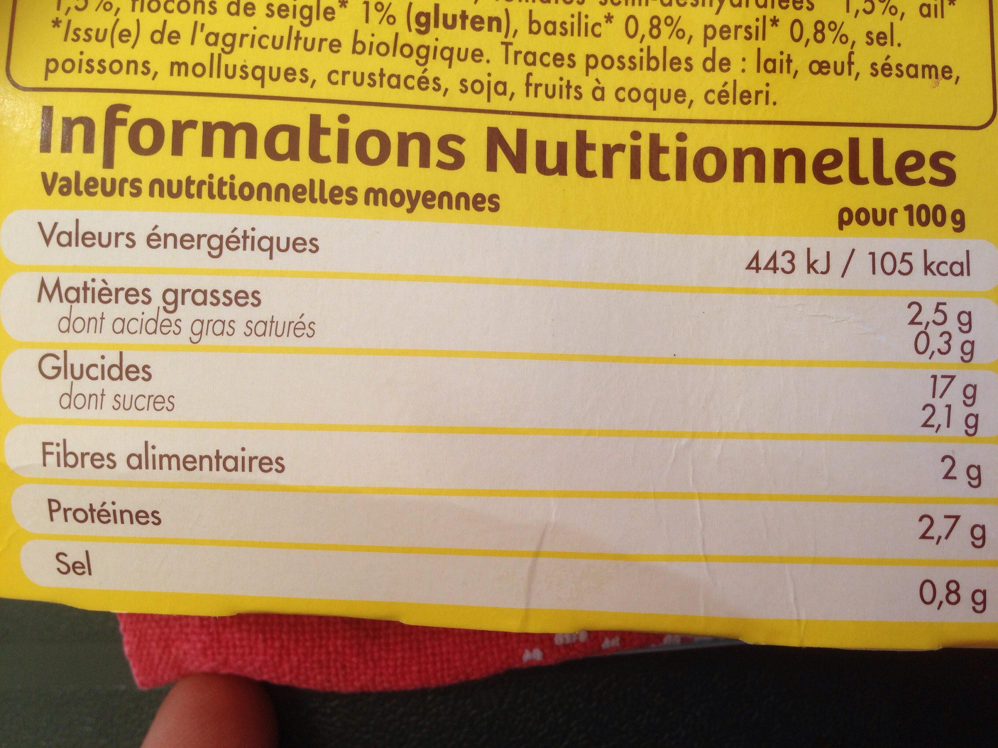 Tipiak 2 grandes galettes legime du soleil cereales - Informations nutritionnelles - fr