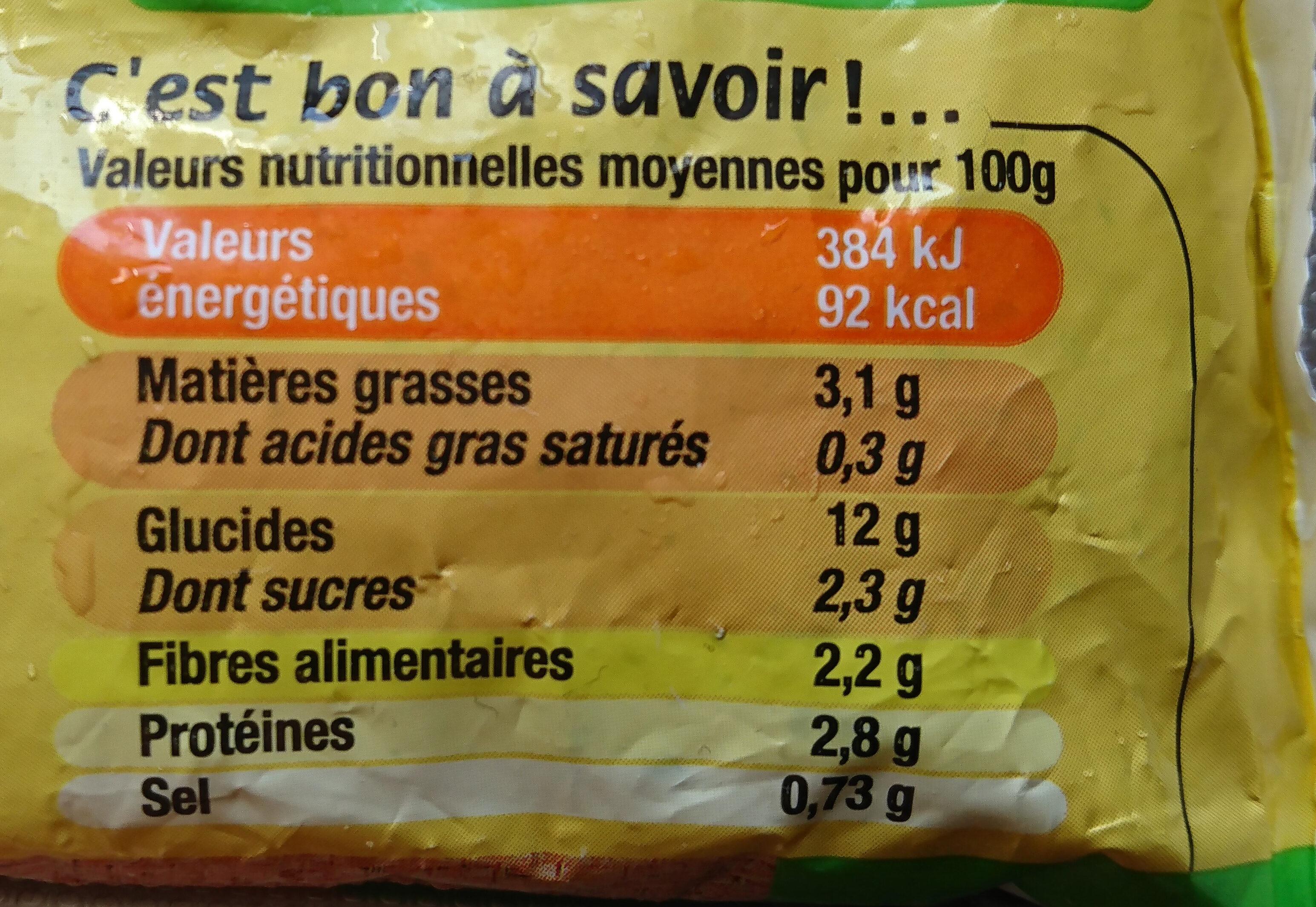 Poêlée cuisinée légumes gourmands, céréales et quinoa - Nutrition facts