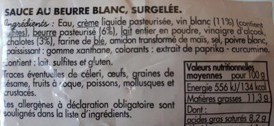 Sauce Beurre Blanc - Ingrédients