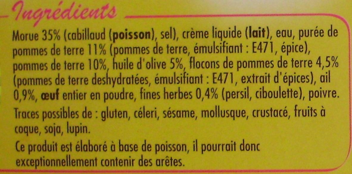 Brandade de Morue Parmentier à l'Huile d'Olive (5 %) et aux Fines Herbes, Surgelée - Inhaltsstoffe - fr