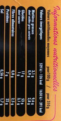 Poulet au curry rouge et riz thai - Nutrition facts