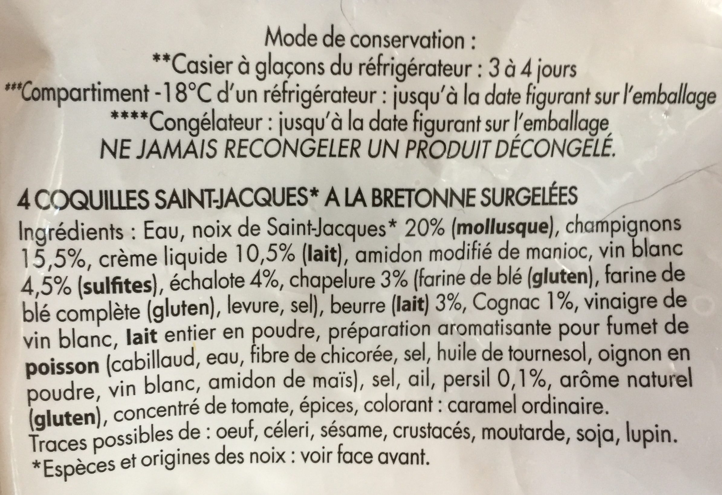 4 coquilles saint-jacques - Ingrediënten