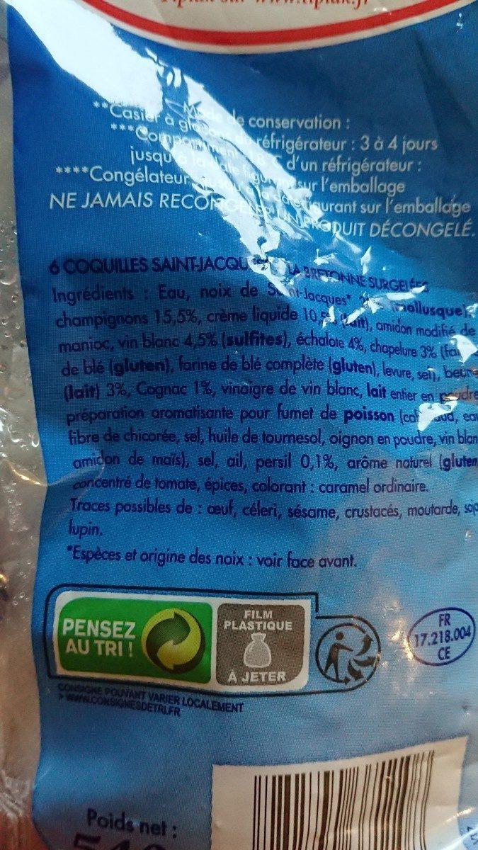 , Coquilles saint jacques a la bretonne, 540 gr les 6 - Ingredients