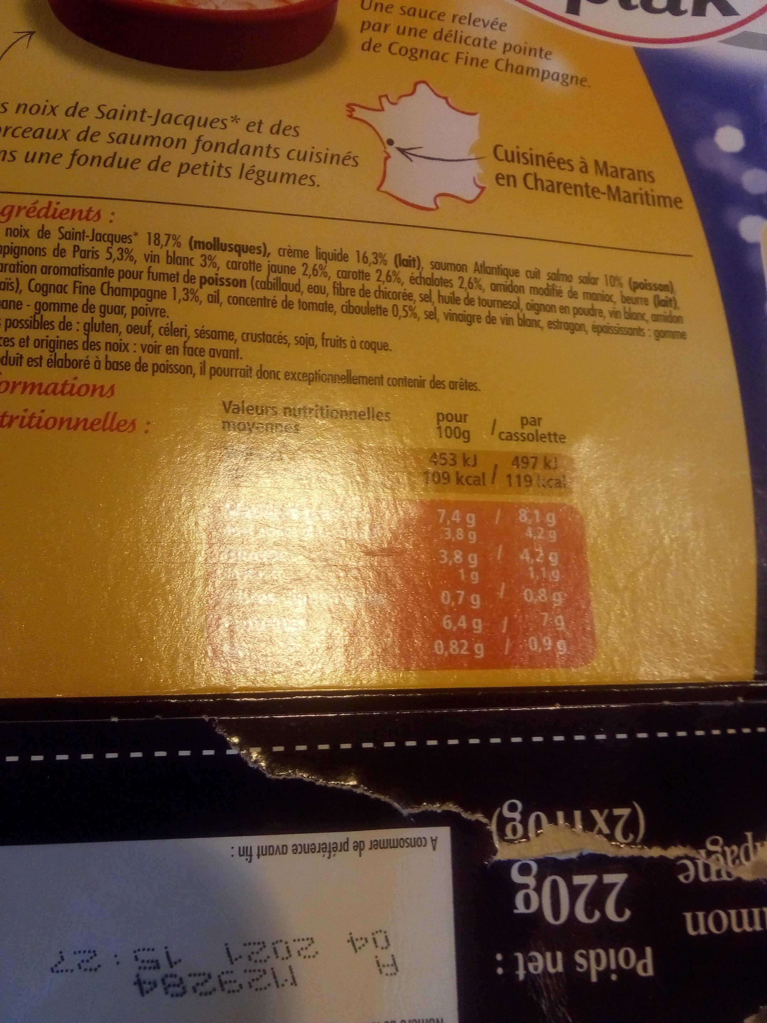 Cassolettes de Saint-Jacques et Saumon - Ingrédients