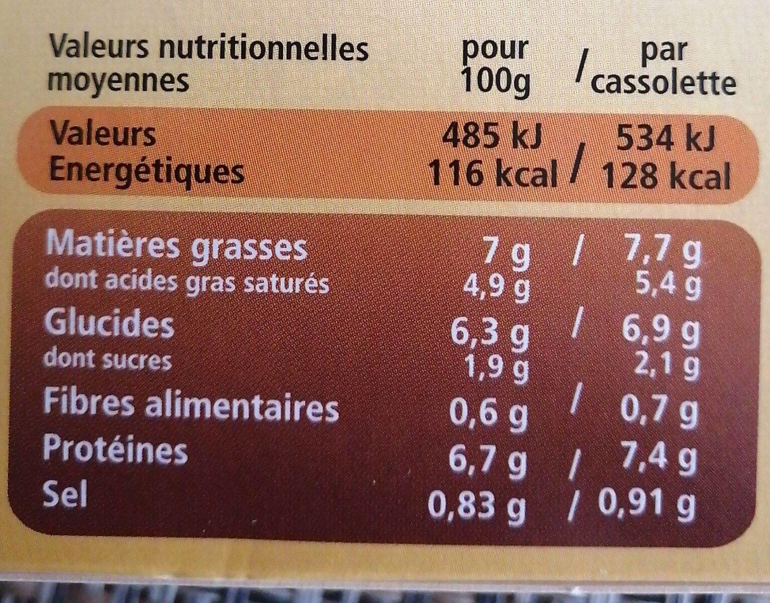 Cassolettes Saint Jacques sauce crémée sauterne - Informations nutritionnelles - fr