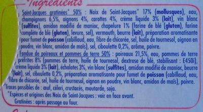 Saint-Jacques Gratinées*-Fondue de poireaux et pommes de terre, Surgelées - Ingrediënten - fr