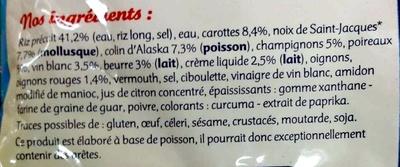 Saint-Jacques* & Riz à la Bretonne à Poêler, Surgelé - Ingrediënten - fr