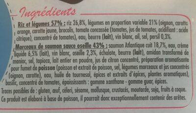 Saumon sauce oseille riz gourmand - Ingrédients