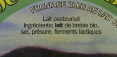 Coucouron brebis bio (fromage bleu au lait de brebis) - Ingredients